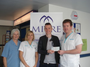 From left: Ethel Riddell (MITRE), Grainne Keenan(Physiotherapist), Gary Curran and Aidan Rooney (Physiotherapist)