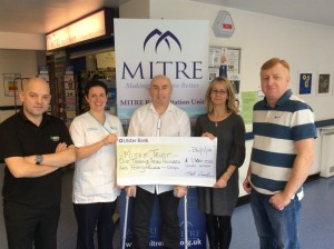 From left - Paul McNeice (service station manager), Kim Gregg (Physiotherapist), Joe Conlon, Dr. Suzanne Maguire (Consultant) and John Conlon
